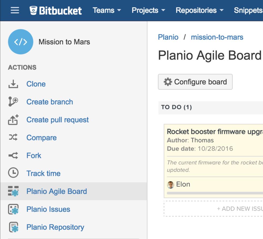 A view of the Planio Agile board in Bitbucket